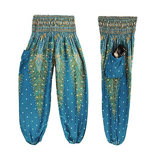 Leyorie Men Women Thai Harem Trousers Boho Peacock Hippy Smock High Waist Yoga Pants (Light Blue, Free Size) ()