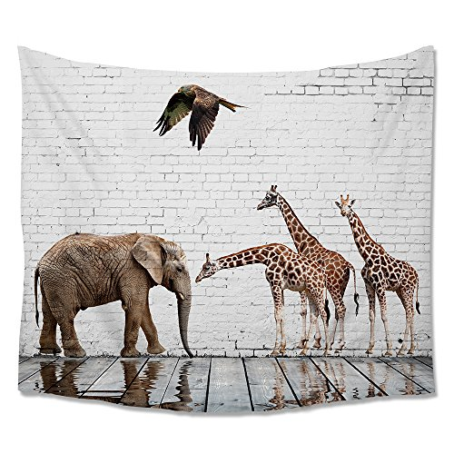Giraffe Wall Hanging (Elephant Giraffe Tapestry Beach Throw ,Brick Wall Art Animal Relection on Water Wall Hanging Tapestries for Home Dorm Decor)