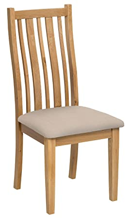 solid oak dining chair in light oak finish with natural beige fabric
