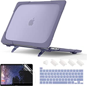 Batianda Shockproof Matte Case for MacBook Pro 13 Inch 2020 A2338 M1 A2289 A2251 with Touch Bar, Heavy Duty Protective Hard Shell Case with Fold Kickstand & Keyboard Cover Skin, Lavender Gray