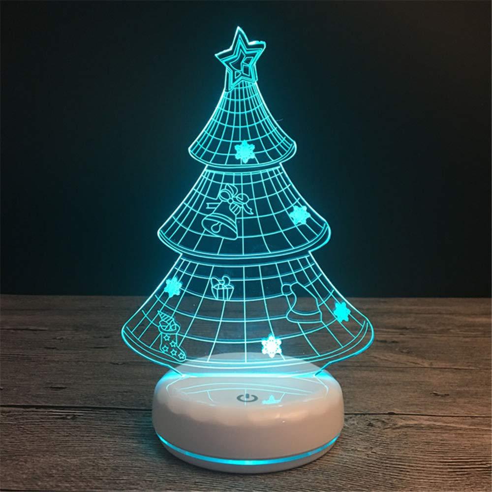 L2eD 3D Ilusión Ilusión Ilusión Óptica Luz Nocturna Multi 7 Led Colores Cambio Lámpara De Mesa Usb Touch Control,Niños,Cumpleaños,Vacaciones Base De Porcelana Blanca De Arbol De Navidad. 867e62