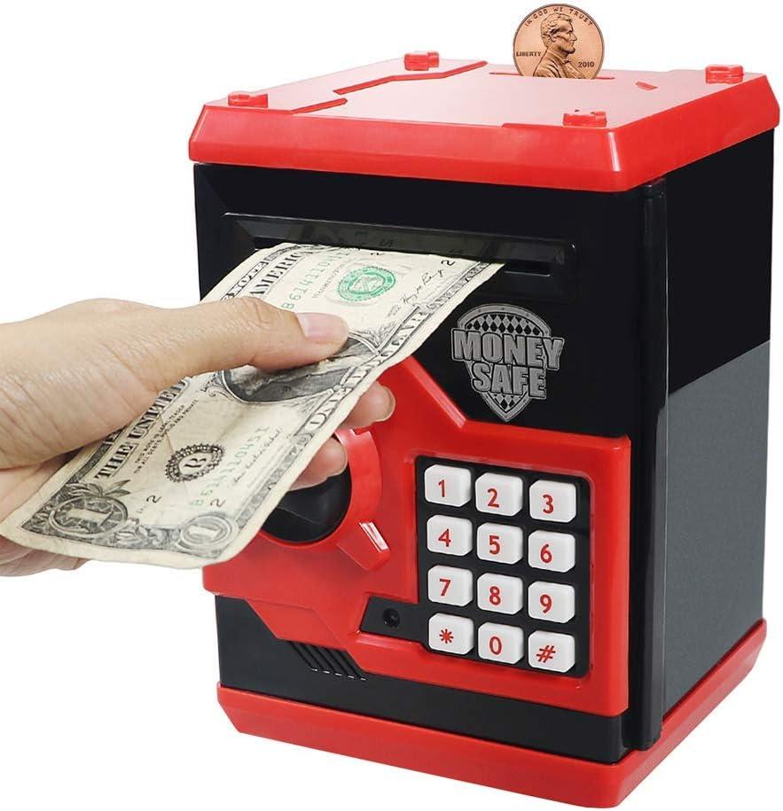 Suliper Electronic Piggy Bank Code Lock for Kids Baby Toy, Mini ATM Safe Coin Banks Money Saving Box Password for Children,Boys Girls Birthday (Black/Red)