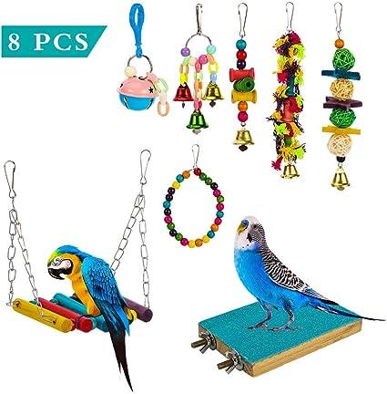 Conures Green Billow Bird Parrot Toys Bird Hanging Shredding Swing Chew Toys Bell Pet Bird Cage Hammock Toy for Parakeets Cockatiels