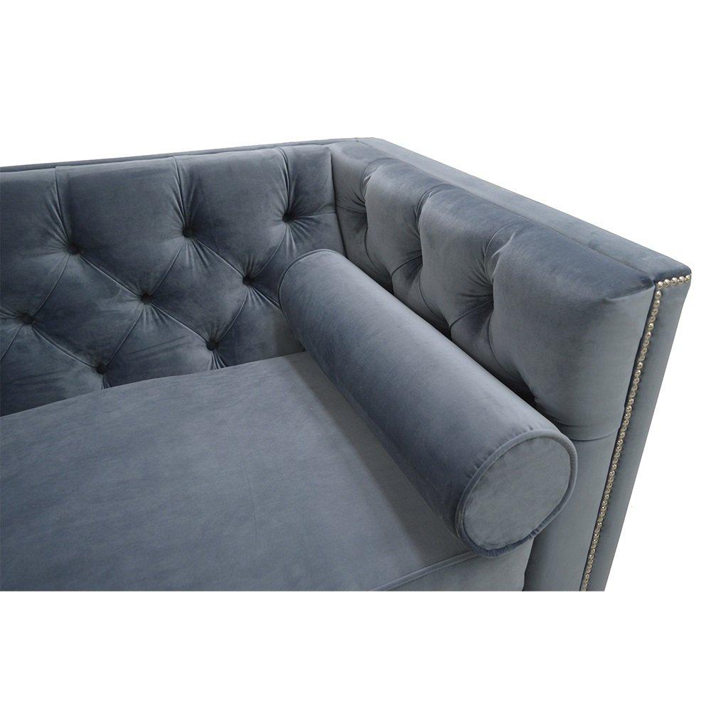 Belle Fierté Azul Marino Elegante 2 plazas Chesterfield sofá ...