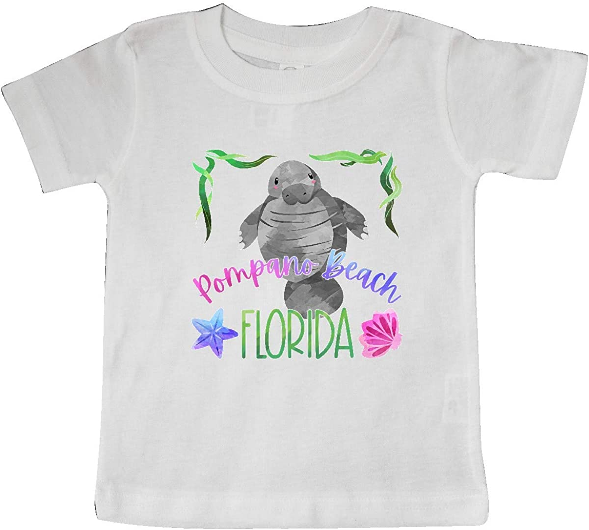 inktastic Pompano Beach Florida Cute Swimming Manatee Baby T-Shirt