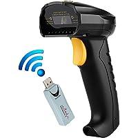 Excelvan - Escáner láser de Codigo de Barras, 2.4 GHz Inalámbrico y USB con cable, Escaner Decodificador Lector , Color Negro
