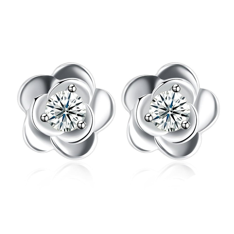 YAZILIND 925 joyería de plata esterlina hermosa forma de flor incrustada ronda cubic zirconia pendientes para mujeres niñas