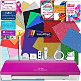 Silhouette Pink Cameo 3 Bluetooth Heat Transfer T-Shirt Vinyl Bundle with Siser Vinyl, Swatch Book, Guides, Class, Membership and More