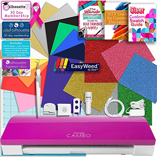 Silhouette Pink Cameo 3 Bluetooth Heat Transfer T-Shirt Vinyl Bundle with Siser Vinyl, Swatch Book, Guides, Class, Membership and More by Silhouette