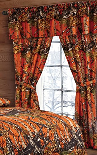 20 Lakes Woodland Hunter Camo Valance, Panels, & Tie Backs Curtain Drape Set Five Pieces (Orange) (Valance Bed)