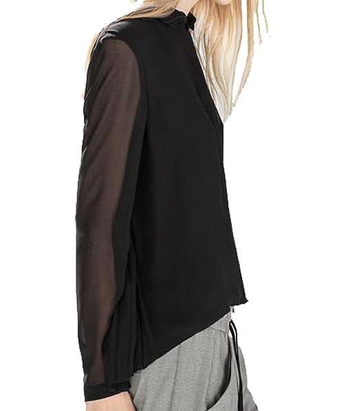 Yayu para Mujer Gasa Suelto Moda Manga Larga Blusa Camisa - Negro -