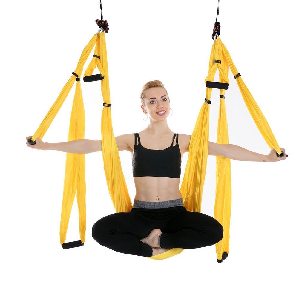 WULAU Hamaca de Yoga de Nailon,Hamaca Correa Volar para Yoga Pilates aérea,250 * 150CM, Teniendo 200KG, Yellow