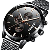 Watch Men Casual Stylish Stainless Steel Watch with Milanese Mesh Band, Waterproof Black Multifunctional Watch for Men