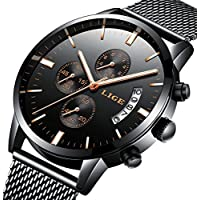 Watch,Men Watch,Luxury Stylish Stainless Steel Watch With Milanese Mesh Band, Waterproof Black Multifunctional Watch For Men
