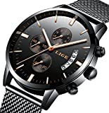 Watches,Men's Luxury Stainless Steel Wrist Watch in,Fashional Design and Elegant Dress For Men (blackrose)