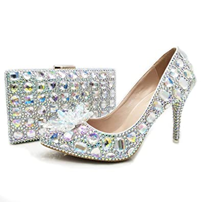 Cinderella Prom Party Shoes Wedding Shoes with Matching Bag AB Crystal  Dress Shoes with Purse Silver 6951fcfe6e53