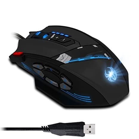 5b025264d12 Amazon.com: Zelotes 4000 DPI Programmable Gaming Mouse for PC Computer  Laptop, 12 Programmable Buttons, Weight Tuning Set,Wired USB Connection, ...