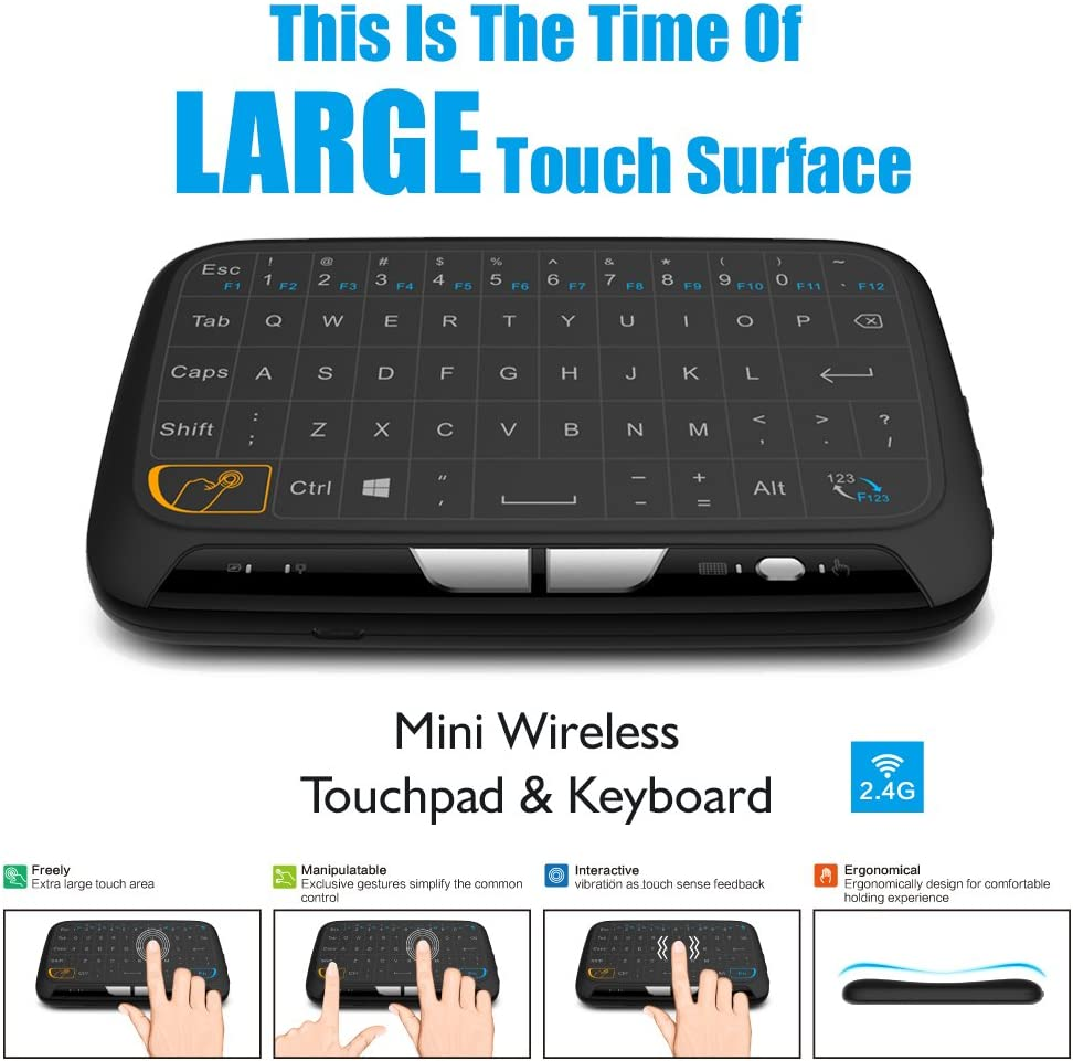 Docooler 2.4GHz Wireless Keyboard Full Touchpad Remote Control Keyboard Mouse Mode with Large Touch Pad Vibration Feedback for Smart TV Android TV Box PC Laptop