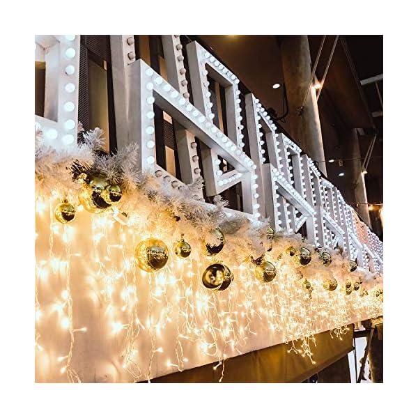 500 LED Tenda luminosa, Luci natalizie per interni e esterni,bianco Caldo con 8 modalità luce/timer, Memoria, trasformatore incluso, 17 M lunghezza- Cavo transparente 5 spesavip