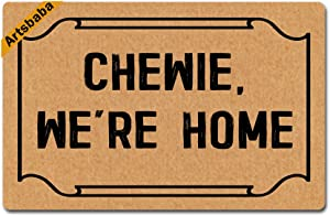 Artsbaba Doormat Chewie, We're Home Door Mat Monogram Non-Slip Rubber Doormat Non-Woven Fabric Floor Mat Indoor Entrance Rug Decor Mat 23.6 x 15.7 Inches