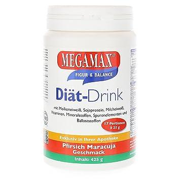 MEGAMAX - Diät Drink - Bebida en polvo para adelgazar y perder grasa - Melocotón-maracuyá - 425 g (17 raciones): Amazon.es: Deportes y aire libre