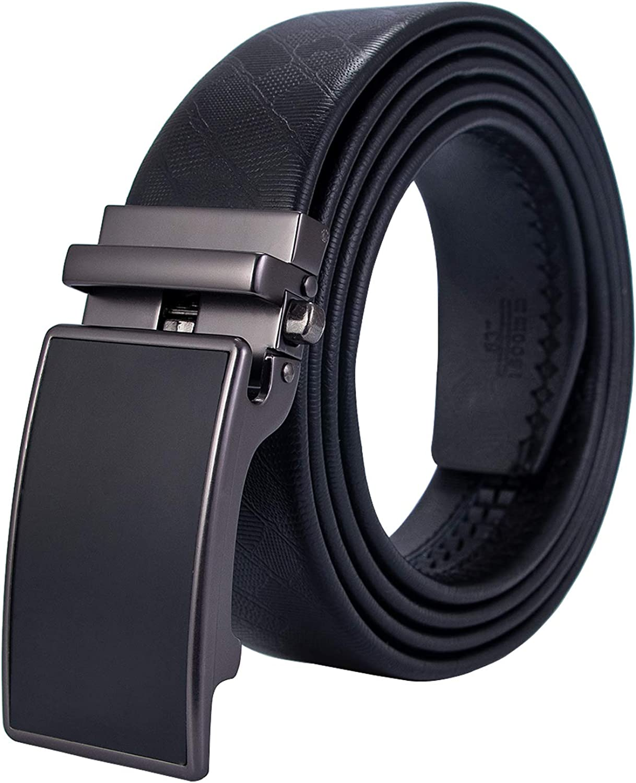 Hi-Tie Men Black Ratchet Leather Dress Belt With Automatic Buckle Gift Box