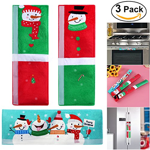 UNOMOR Snowman Appliance Handle Covers for Refrigerator, Door and etc – Christmas Decorations Idea - Set of 3
