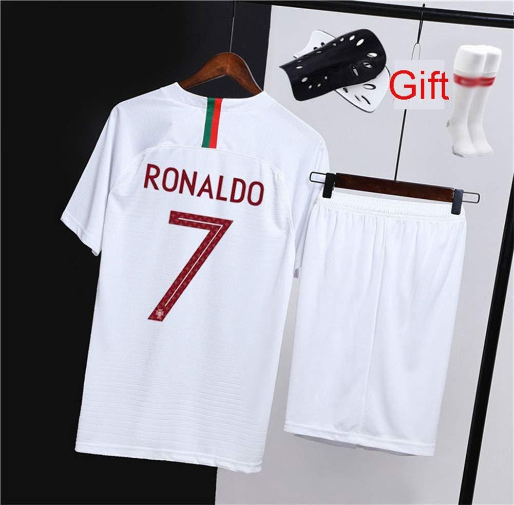 HS-HCF.HW Portogallo No.7 Cristiano Ronaldo CR7 Abito da Calcio per Bambini per Inviare Calzini T-Shirt da Uomo Sportswear,S165~170