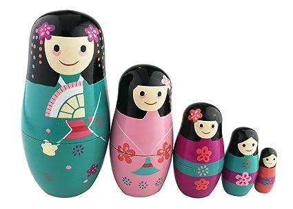 Winterworm Traditional Japanese Girls In Kimono Handmade Wooden Russian Nesting Dolls Matryoshka Dolls Set 5 Pieces