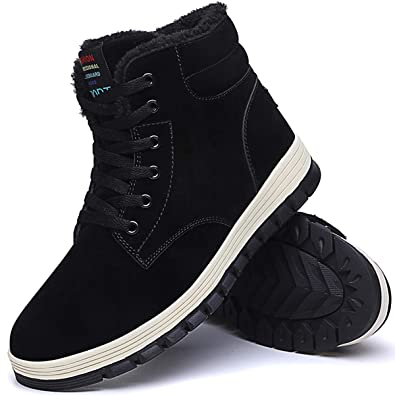 f0073c9f63518 Aliwendy Mens Winter Snow Boots Fur Lined Warm Ankle Booties Waterproof  Slip-on Sneakers Lightweight High Top Outdoor Shoes