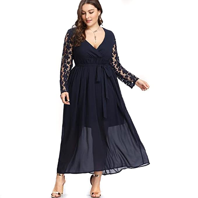 Yinuoday Women\'s Plus Size V Neck Lace Dresses Floral Hollow Long Sleeve  Chiffon Maxi Dress