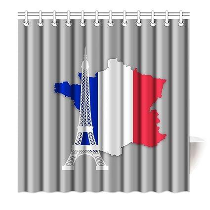 SXCHEN Shower Curtain Hooks French Map Paris Eiffel Tower Blue Red White Polyester Bathroom Decoration Bath