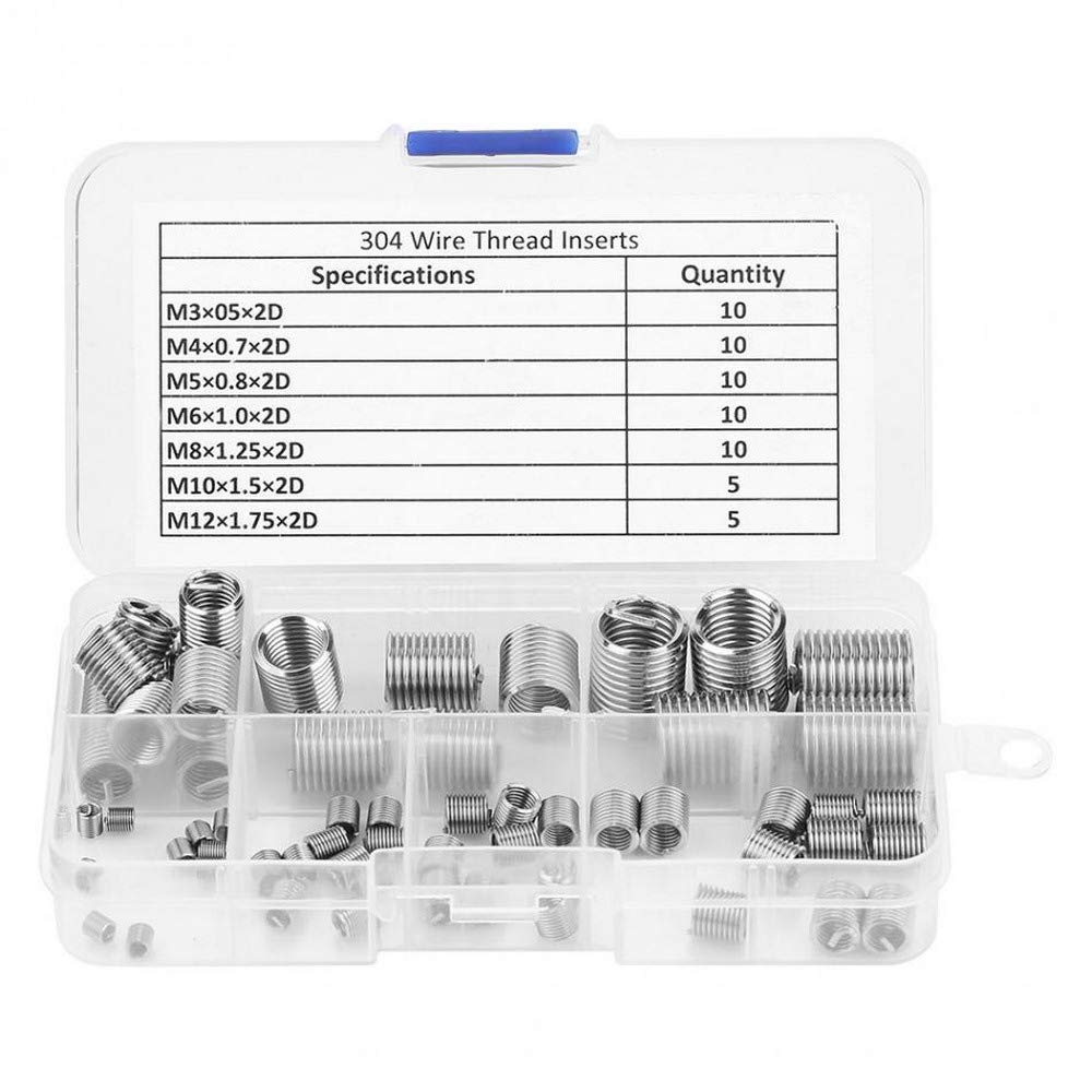 60pcs Silver Thread Repair Insert Kit Stainless Steel M3-M12 for Hardware Repara Thread Repair
