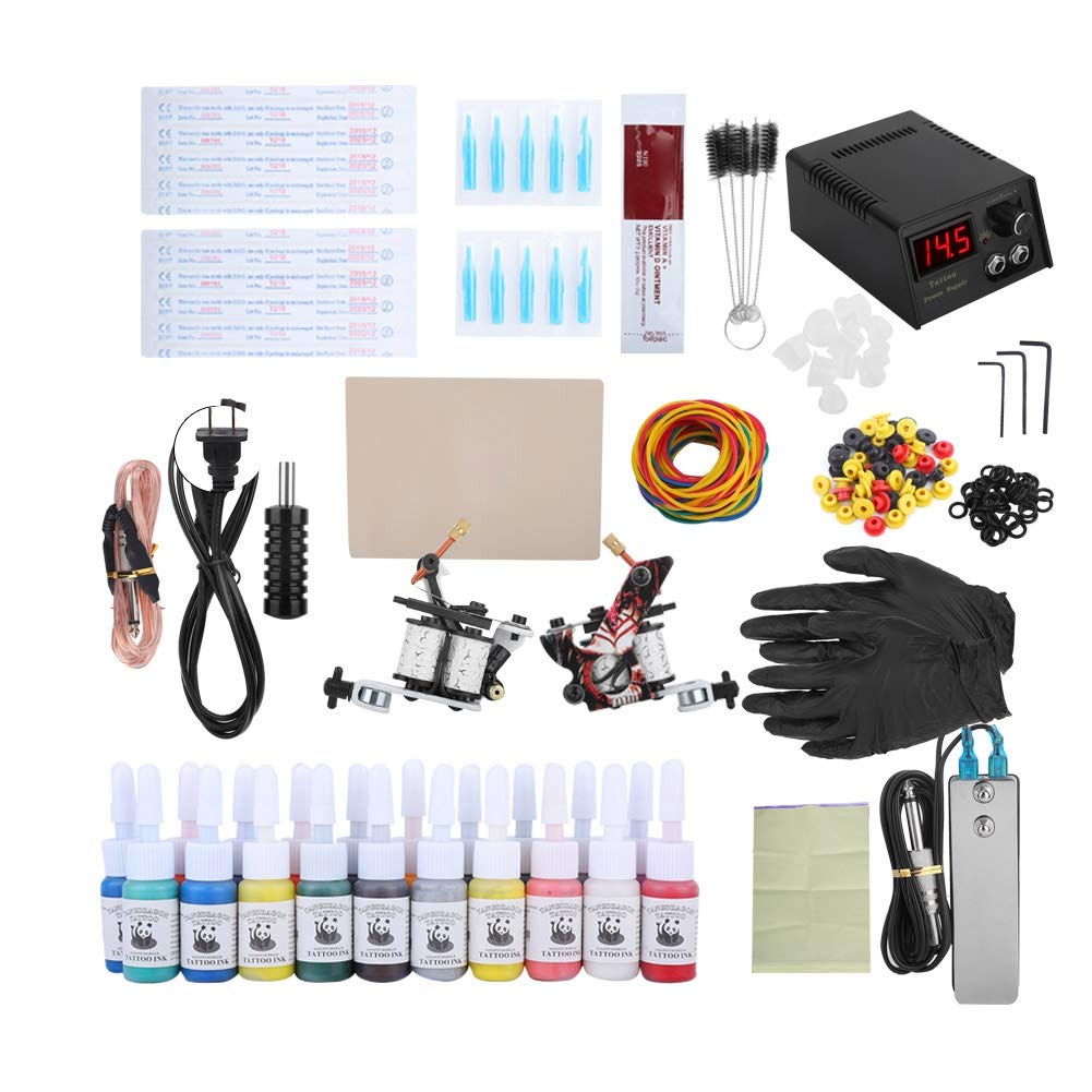 Complete tattoo kit for beginners, professional tattoo kit, tattoo power supply, inks, tattoo needles, shading eyeliner machine (US)