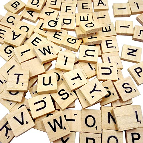 100 PCS Scrabble Tiles Games Wood Letters A-Z Capital Letters for Crafts, Pendants, Spelling (Scrabble Letters For Crafts)