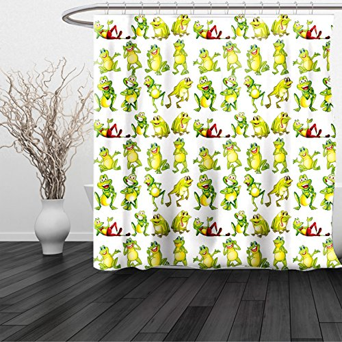 HAIXIA Shower Curtain Nursery Frogs in Different Positions Funny Happy Cute Expressions Faces Toads Cartoon Green Yellow Red
