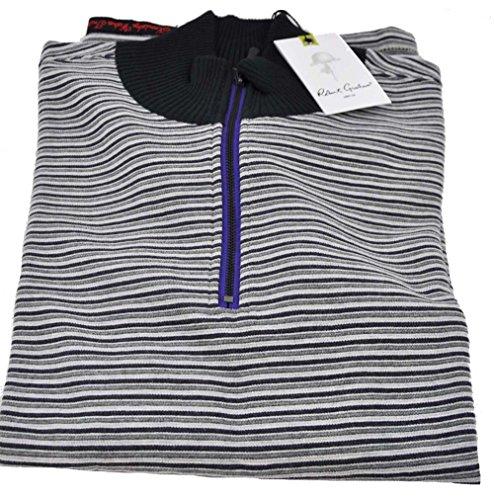 robert-graham-mens-medium-black-stripes-long-sleeve-1-4-zip-pullover-sweater