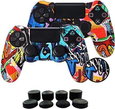 Fundas para Mando PS4/PS4 Pro/PS4 Slim Dualshock 4, Silicona Carcasa Protectora Antideslizante para Play 4/playstation 4 (2 × vistoso Personalizado cubierta de Mando PS4 + 8 × Grips para Pulgares PS4): Amazon.es: Electrónica
