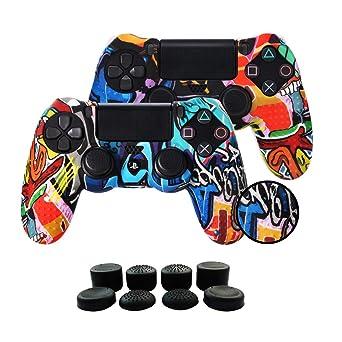 Fundas para Mando PS4/PS4 Pro/PS4 Slim Dualshock 4, Silicona Carcasa Protectora Antideslizante para Play 4/playstation 4 (2 × vistoso Personalizado ...