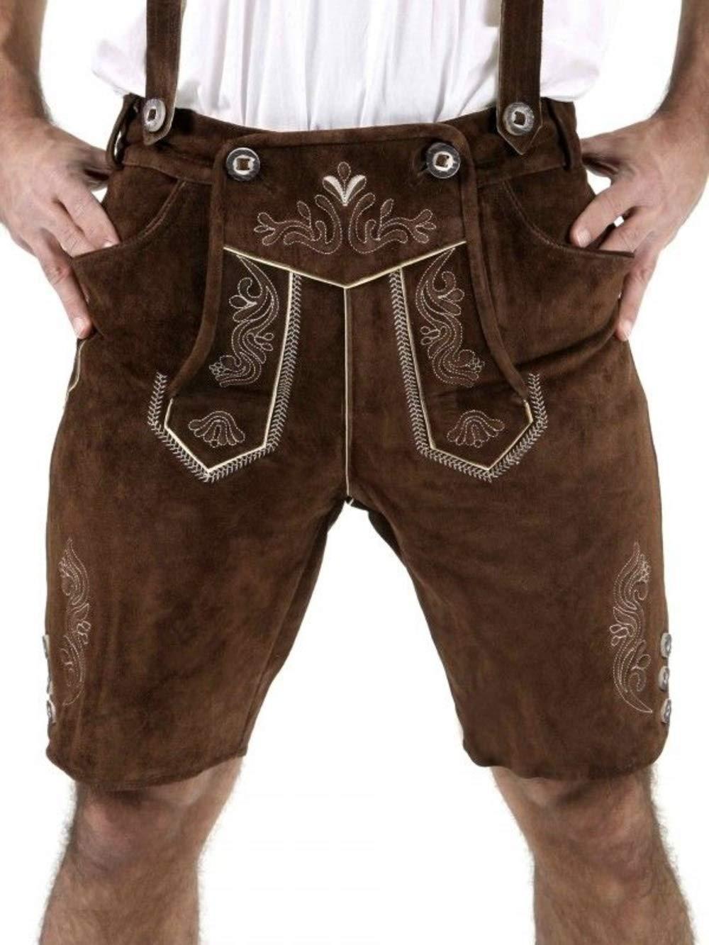 Cuir Craft Authentic Lederhosen German Bavarian Lederhosen Oktoberfest Choc Brown Short Length (36 Inches Waist)