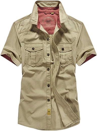 Blusas Camisa de Manga Corta Suelto Loose Fit Ligero Tallas Grandes: Amazon.es: Ropa y accesorios