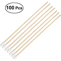 ROSENICE 100 Pcs Cotton Swabs with Long Wooden Handles Cotton Tipped Applicator