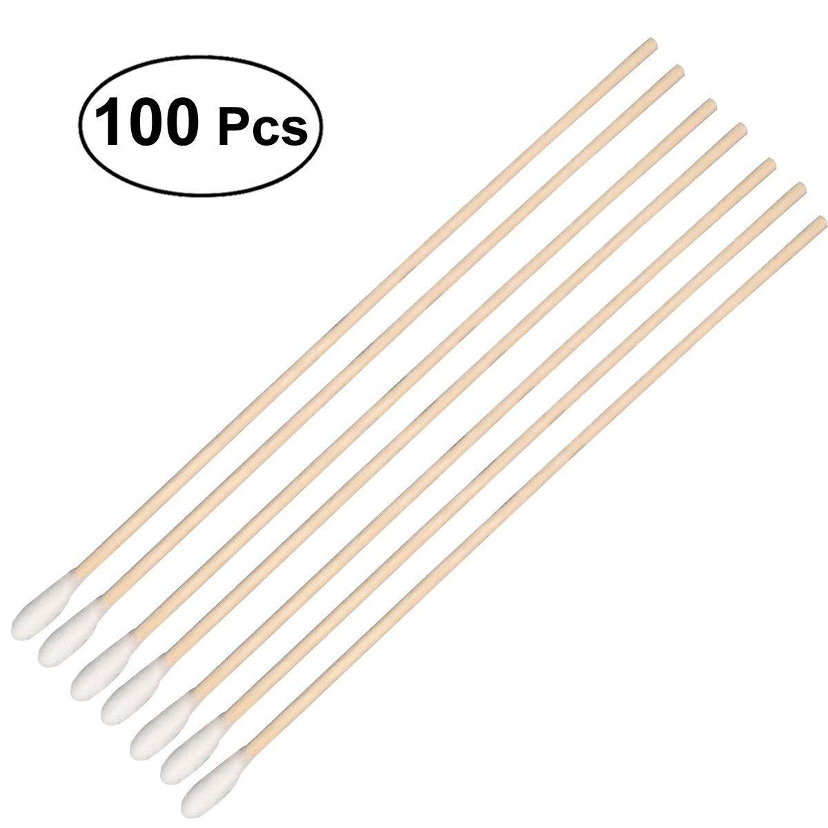 Rosenice Lot de 100 tampons médicaux en coton, avec longs bâtonnets en bois et coton sanitaire rond – Pour nettoyage de l'oreille ou soin de plaies