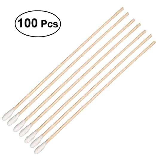 ROSENICE Cotton Swabs 100Pcs Long Wood Handle Medical Swabs Ear Cleaning Wound Care Cotton Buds Sani