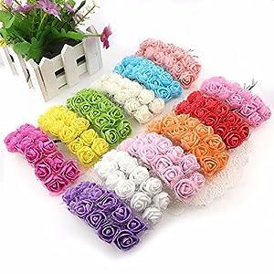 144pcs 2cm Mini Foam Rose Artificial Flowers for Home Wedding Decoration DIY Pompom Wreath Decorative Bridal Flower Fake Flower (White) 4