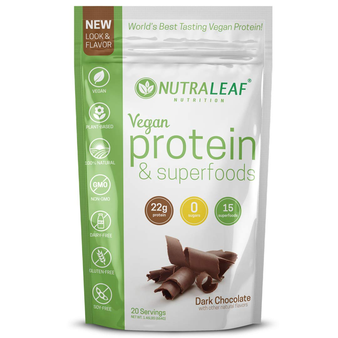 NutraLeaf Plant-Based Vegan Protein Powder Superfoods Non-GMO, Gluten-Free, Dairy-Free, Soy-Free Dark Chocolate Shake 20 Servings, 1.46 lbs