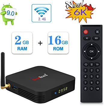 Greatlizard TX6 Android 9.0 Smart TV Box 2GB RAM 16GB ROM Cuatro Nucleos 4K HD Resolución 2.4G WiFi Set Top TV Box: Amazon.es: Electrónica