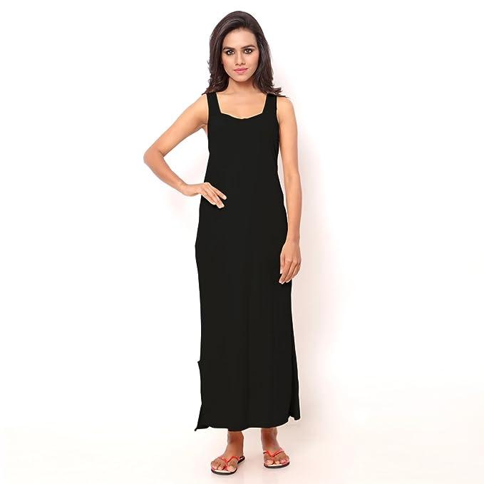 2bdd29d6bd Ziya Women s Cotton Sleeveless Nighty (Black