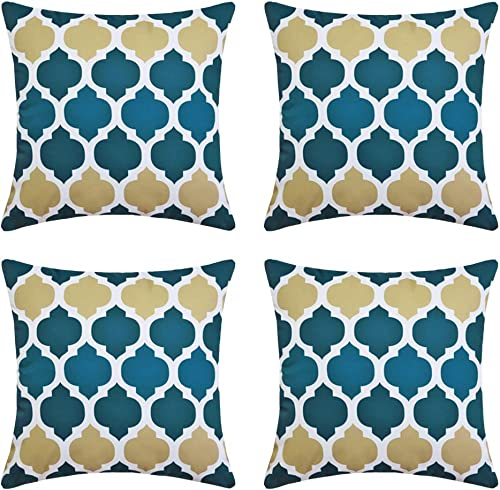 Andreannie Pack of 4 Outdoor Waterproof Decorative Throw Pillow Cover Cushion Case