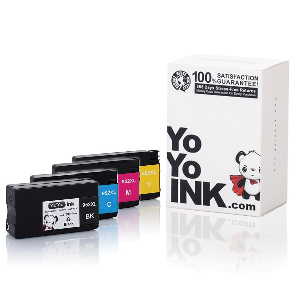 YoYoInk 4 Pack Remanufactured Ink Cartridges Replacement for HP 952 XL (1 Black, 1 Cyan, 1 Magenta, 1 Yellow) for OfficeJet Pro 8710 8720 8712